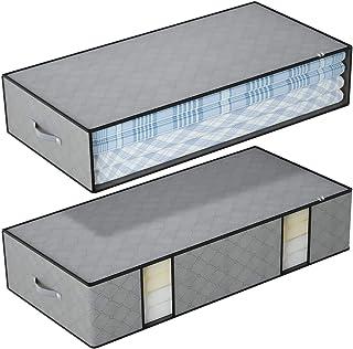 DIMJ Lot de 2 Sac de Rangement Sous le lit, Avec Fenêtre Transparente, Grands Sacs de Rangement avec Poignées Renforcées e...