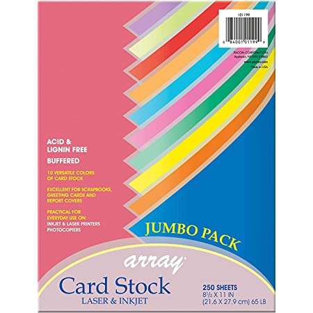 """Pacon Card Stock, Colorful Jumbo Assortment, 10 Colors, 8-1/2"""" x 11"""", 250 Sheets"""