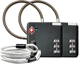 Aspen TSA Candados para equipaje de combinacion Seguridad Maleta Taquilla Candados Viaje Taquilla Lock eeuu con Cable de Bloqueo 100 cm(Negro)