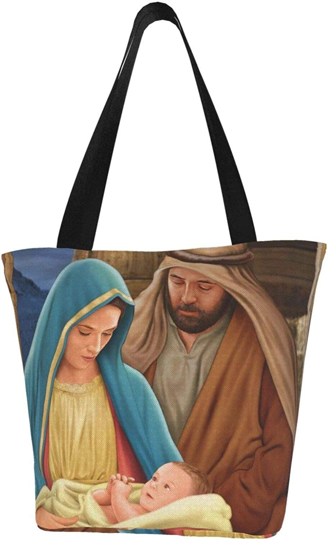Holy Vintage Birth Jesus Themed Printed Women Canvas Handbag Zipper Shoulder Bag Work Booksbag Tote Purse Leisure Hobo Bag For Shopping