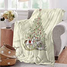 Elxmzwlob Christmas Blankets,Throw Blankets,Microfiber Blanket,Christmas,Tree with Rocking Horse-Blanket All Season Warm(93