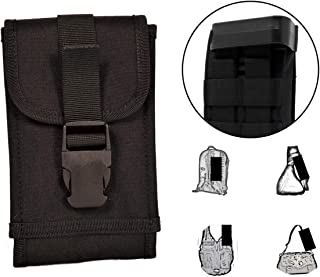 Clakit XL Smartphone StrapPack with Clip Front Flap (Black) - Backpack Shoulder Strap Attachment for Hikers, Travelers, Hunters, Students, and Commuters