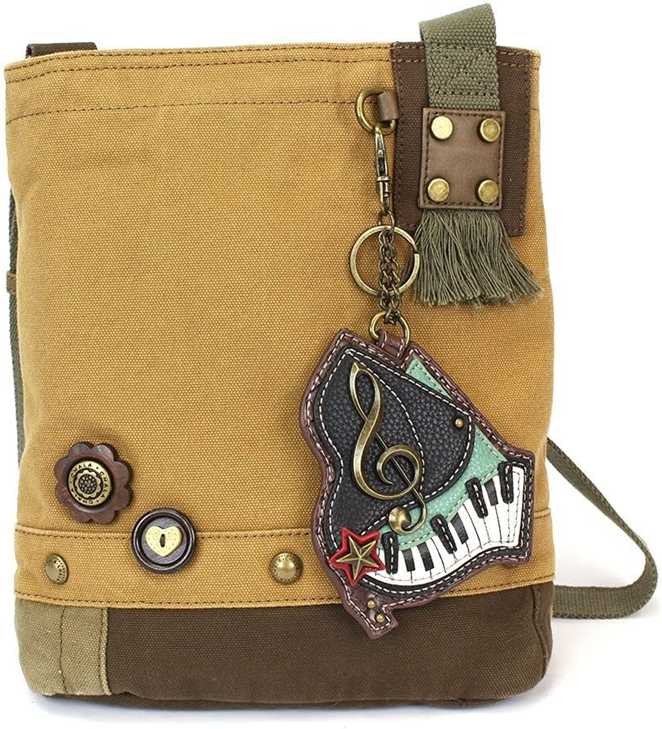 Chala Womens' Canvas Patch Crossbody Handbag Piano  Brown