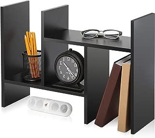 FITUEYES Desktop Organizer Office Storage Rack Adjustable Wood Display Stand Shelf Rack Counter Top Bookcase DT207201WB
