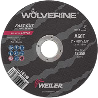 Walter 11F052 ZIP Stainless Cutoff Wheel - Pack of 25 Hard Surfaces A-60-SS ZIP Grit Type 1 Abrasive Wheel for Cutting Pipes 5 in