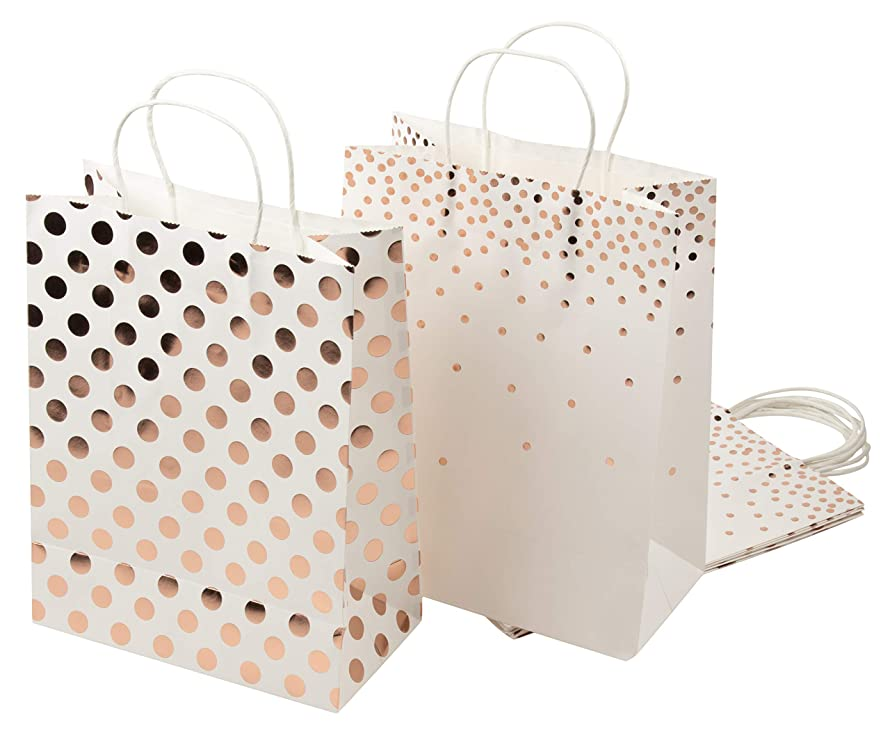 Foil Gift Bags – 12-Pack Treat Bags with Handles, Paper Goodie Bags for Retail, Gifts, Party Favors, 2 Rose Gold Foil Designs, Large, 13 x 10 x 5 Inches