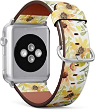 Compatible with Apple Watch 42/44mm (Big) - Replacement Accessory Leather Band Strap Bracelet Wristbands with Adapters (Sunflowers Watercolor Summer)