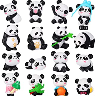 Chinco 16 Pieces Cute Animal Mini Figurines Playset Mini Cake Toppers Decoration Craft for Kid Party Favors Fun Office Home Decor (Panda Figures)