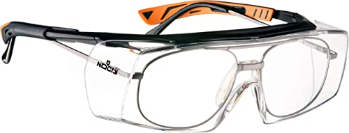 NoCry Over-Spec Safety Glasses with Anti Scratch Wrap-Around Lenses, EN166, EN170 and EN172 Certified, Adjustable Arm...