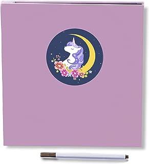Self Adhesive Photo Album, Magnetic Scrapbook Album 40 Pages Fabric Hardcover Length 11 x Width 10.6 inch with Photo Album Storage Box DIY Accessories Kit (Unicorn)