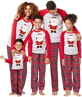 Christmas Pajamas for Family Santa Claus Print 2Pcs PJs Sets Long Sleeve T-Shirt+Plaid Pants Sleepwear Homewear