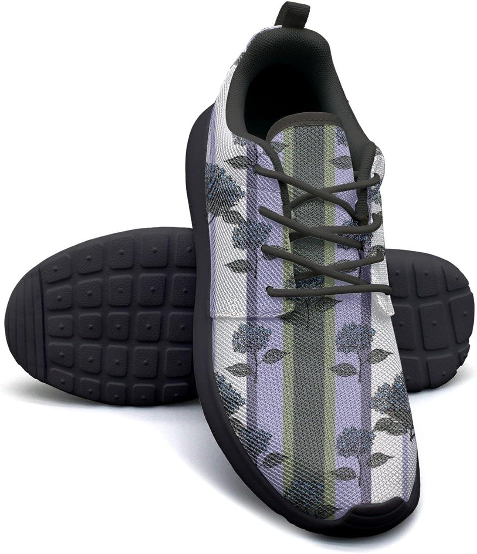 Purple Bouquet Hydrangea Stripe Women's Lightweight Mesh Running Sneakers Navy Sports shoes