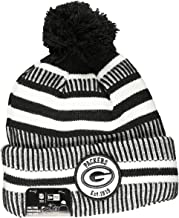 New Era Green Bay Packers 2019 Black & White Sideline Sport Knit Winter Pom Knit Hat Cap