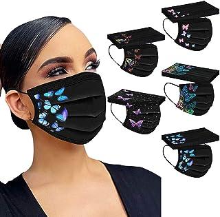 Mumustar 50 mascarillas desechables para adultos negra Serie de elementos de mariposa, agradable a la piel y cómodo Adecua...