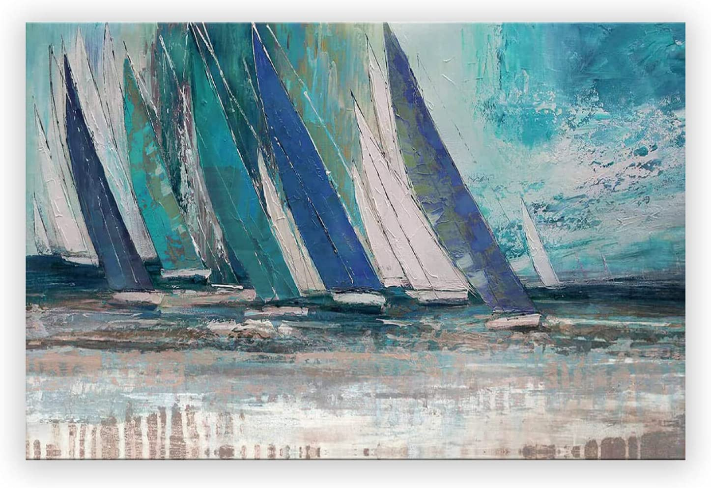 Sailboat Ocean Nautical Canvas Wall Art Room Grey Blue And Aqua Artwork Home Landscape Wall Painting Scenery Bedroom Kitchen Decor Above Bed Pictures For Living Room Frameless 24X 36 Inch