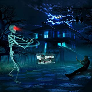 proxracer 5.4 Ft. Halloween Skeleton Life Size, Sound Activated with Glowing Eyes and Funny Color Painting for Halloween Prop Prank  Graveyard Decorations