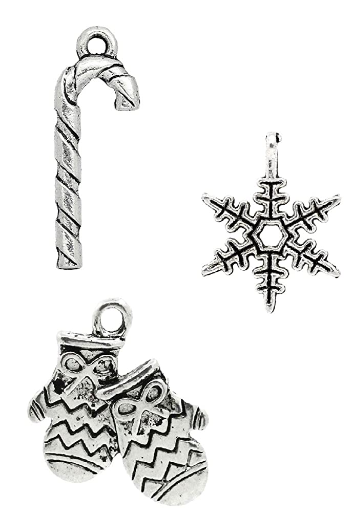 Christmas Charm Pendants 150 Pack, 50 of Each (Candy Cane, Mittens, Snowflake)