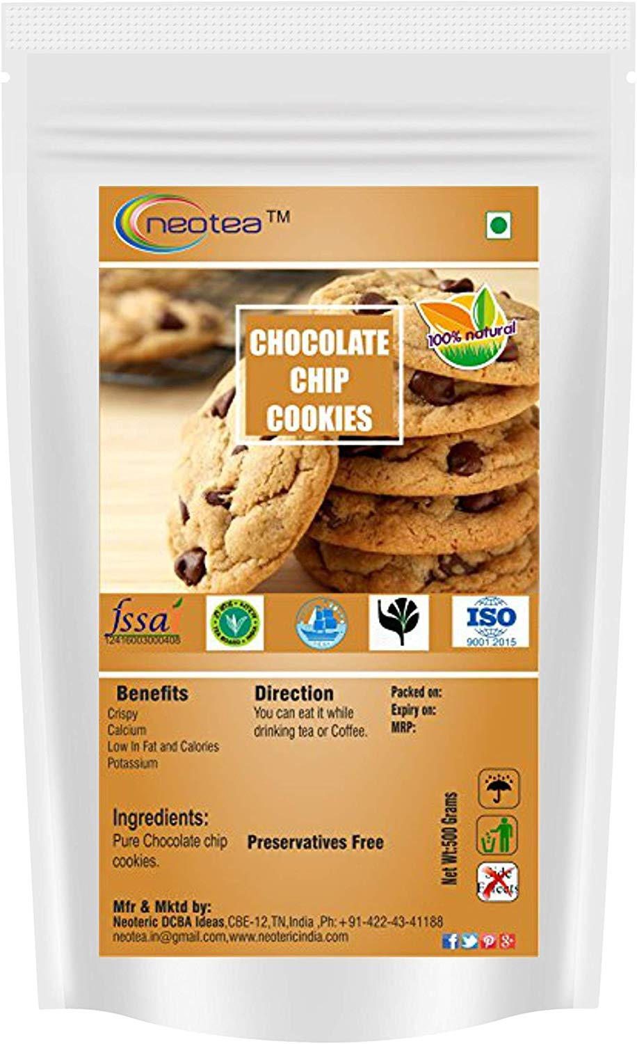 Neotea Chocolate Max 49% OFF Chip 500g Cookies Mail order