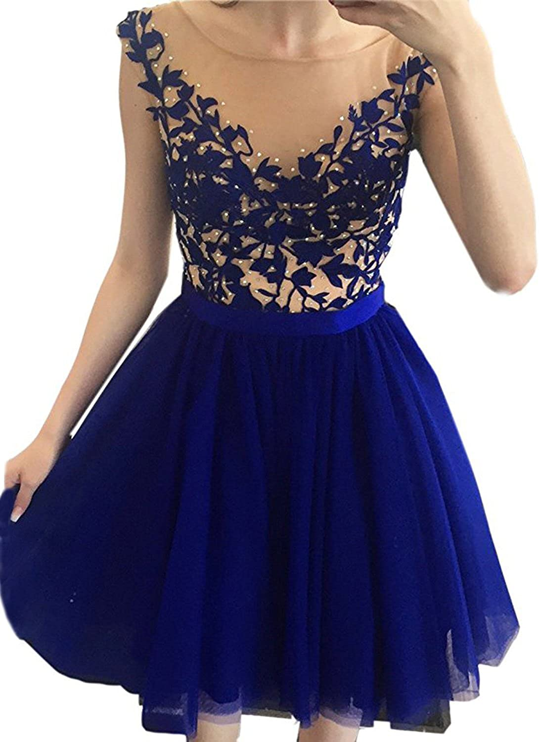 CIRCLEWLD Sheer Neck Homecoming Prom Dresses Short Appliques Beads Women's Plus Size Gown H30