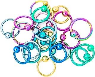 Captive Bead Rings - Lot of 20 Anodized Titanium 16ga and 14ga 316L - Lip, Ear, Nose
