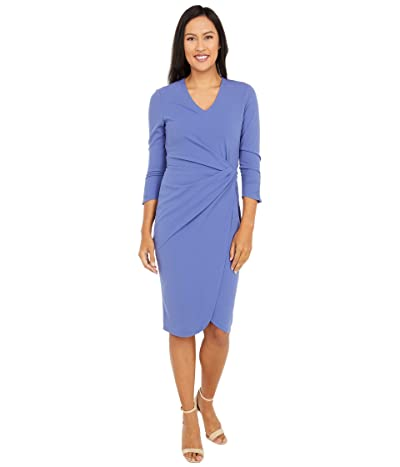 Tahari by ASL Mock Neck Stretch Knit Elbow Sleeve Side Wrap Dress (Periwinkle) Women