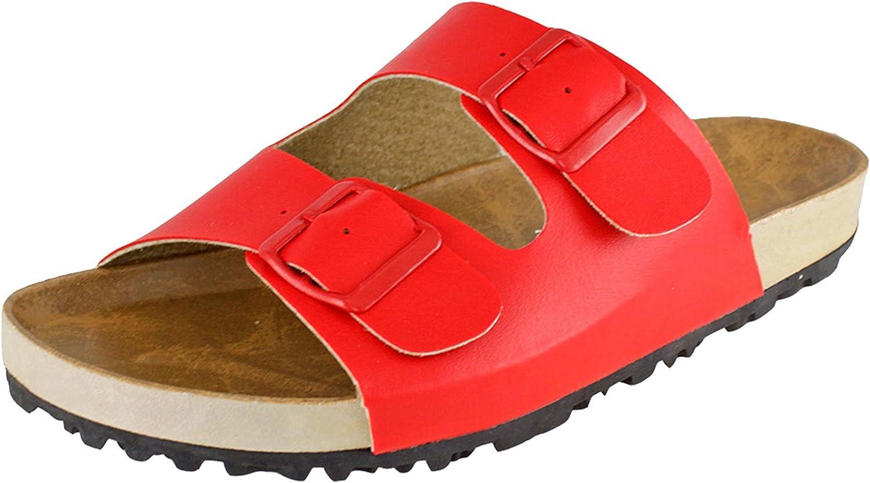 Cambridge Select Women's Slip On Double Buckle Platform Slide Sandal