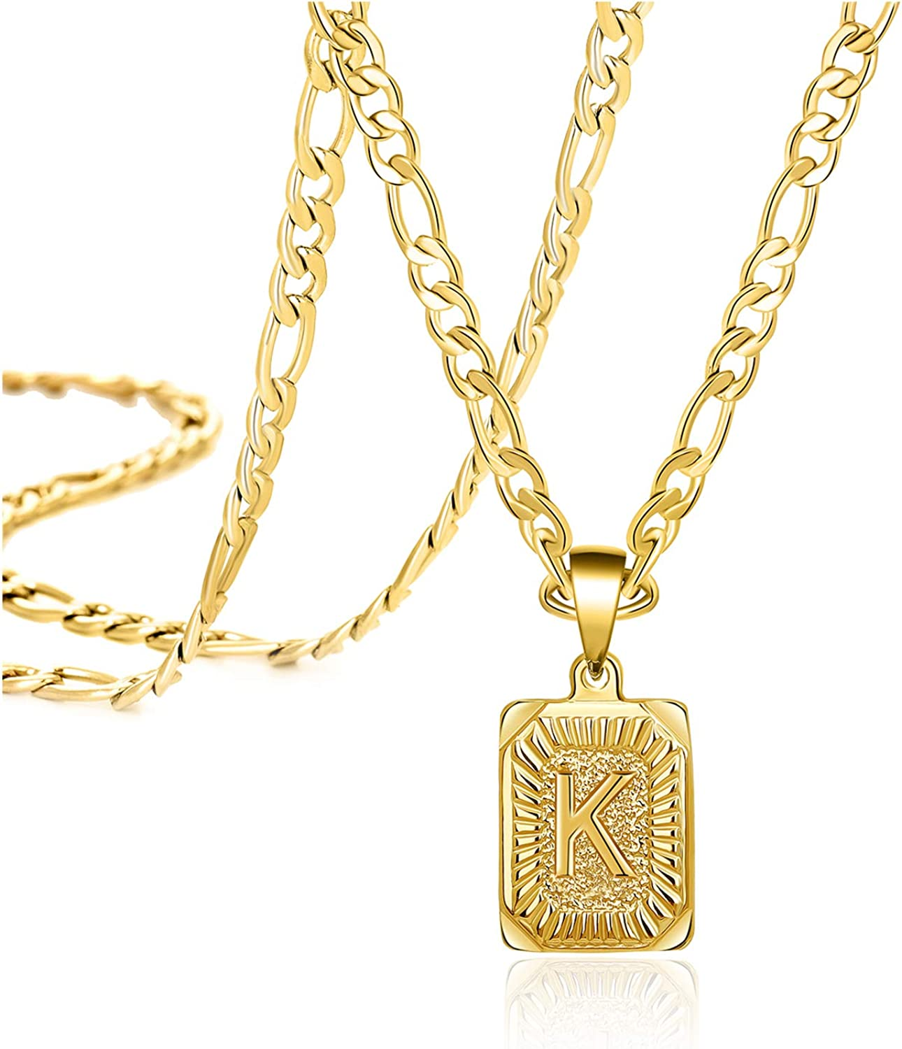 18K Gold Filled Initial Necklaces for Women Men Square Letter Pendant Handmade 26 Alphabets from A-Z Simple Unique Stainless Steel Jewelry