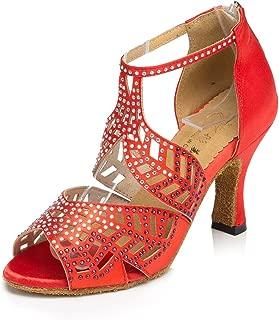 CRC Women's Stylish Peep Toe Sparkle Rhinestones Satin Ballroom Morden Salsa Latin Tango Party Wedding Professional Dance Sandals