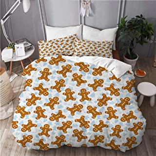 KUDOUXIA Gingerbread Man Traditional Christmas Cookie Pattern Tile Decorative Bedding Set 1 Duvet Cover with 2 Pillow Cases Twin/Twin XL