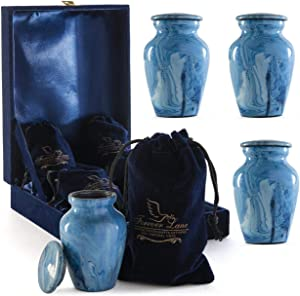 Forever lane Small Keepsake Set of 4 Urn for Human Ashes Hand-Painted Mini Keepsake urn with Case and 4 Individual Velvet Bags (Blue Marble)