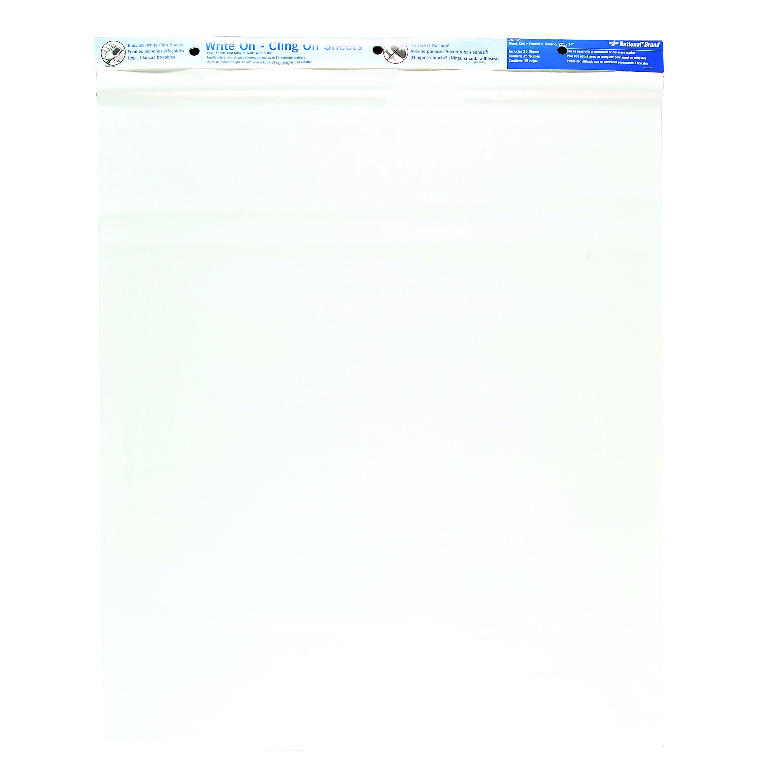 27 x 34 Inches 35 Sheets National Brand Write On Cling On Static Easel Pad Renewed Plain Poly Sheets 24391