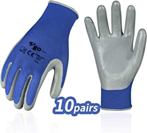 Vgo... 10Pairs Nitrile Coating Gardening and Work Gloves (Size L, Blue, NT2110)