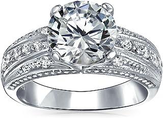 Bling Jewelry Stile Vintage 3CT Round Taglio Brillante AAA CZ Solitario Anello di Fidanzamento per Donna Wide Pave Band 92...