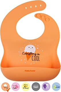 KIDDO FEEDO Silicone Weaning Bib for Baby Boys and Girls - 6 Designs with Fun/Cute Sayings Available - Non-Absorbent and Easy Roll Up and Go - Orange