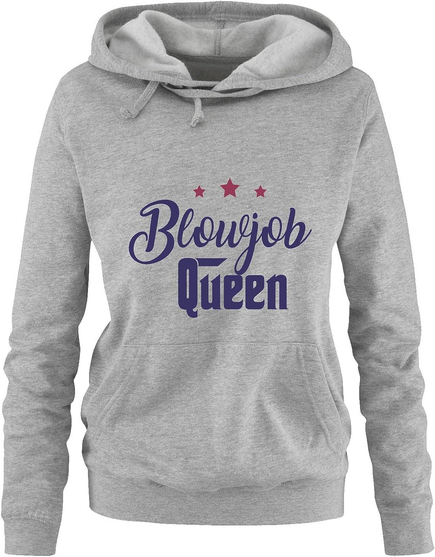 Comedy Shirts Blowjob Queen K/ängurutasche Print-Pulli Kapuze Damen Hoodie Langarm