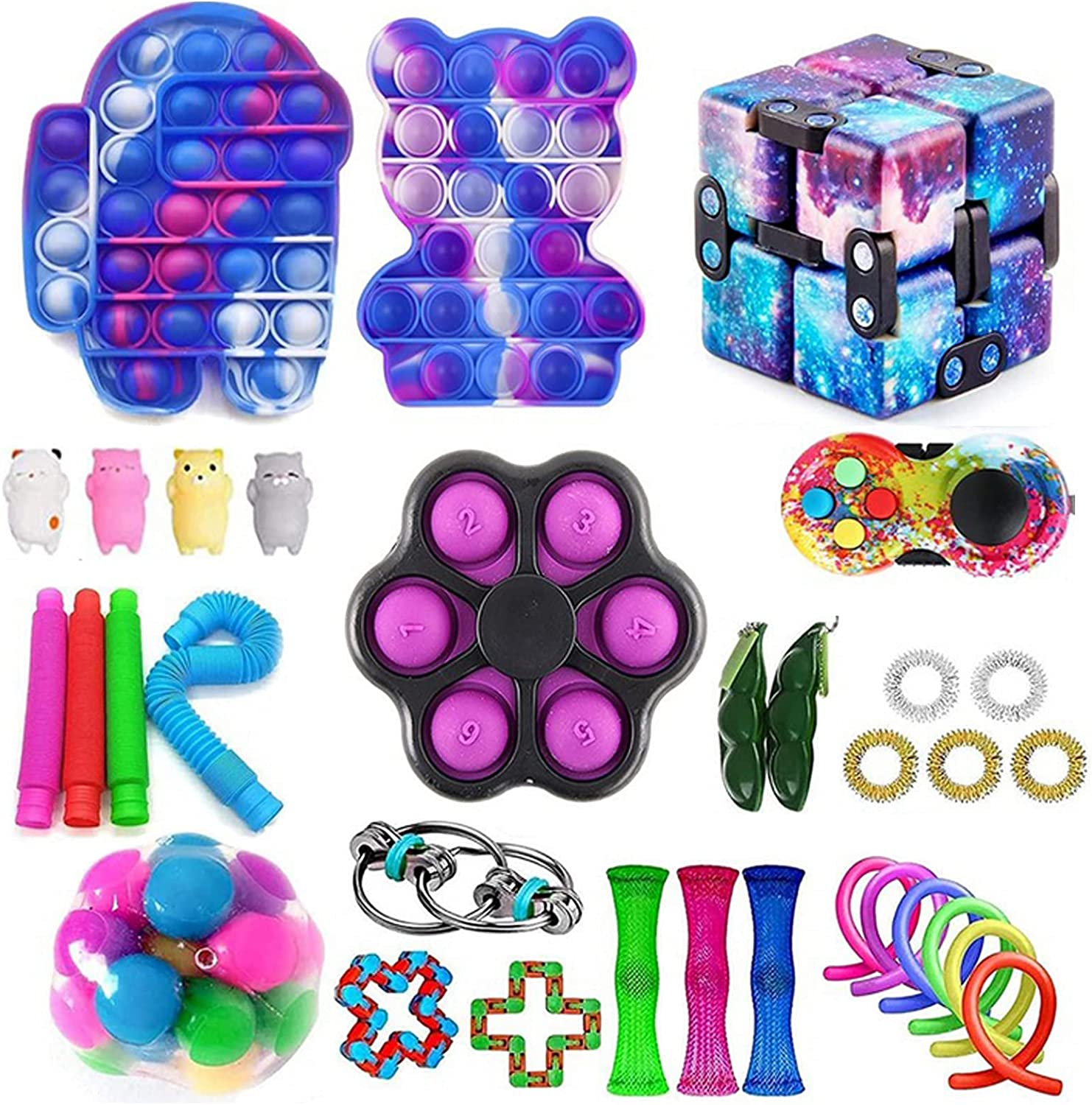 34pcs Fidget Toys Set Anti-Anxiety Block To Packs Animer and price revision Limited time cheap sale