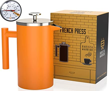 Stainless Steel French Press with Thermometer - Insulated French Press Coffee Maker - (1.0L | 34 fl oz | Orange)