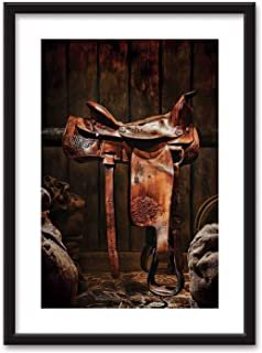 Western Framed Wall Art,American West Traditional Authentic Style Rodeo Cowboy Saddle Wood Ranch Barn Image Black Picture Frames White Matting,16''x20''