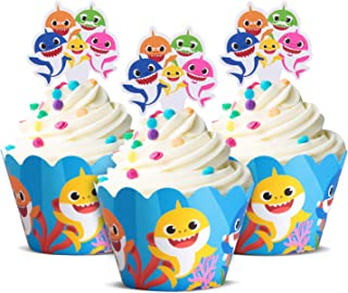 Cute Baby Shark Party Supplies – Cute Shark Cupcake Topper and Wrapper - Set of 24, Birthday Party Supplies, Baby Shark Cake Decoration