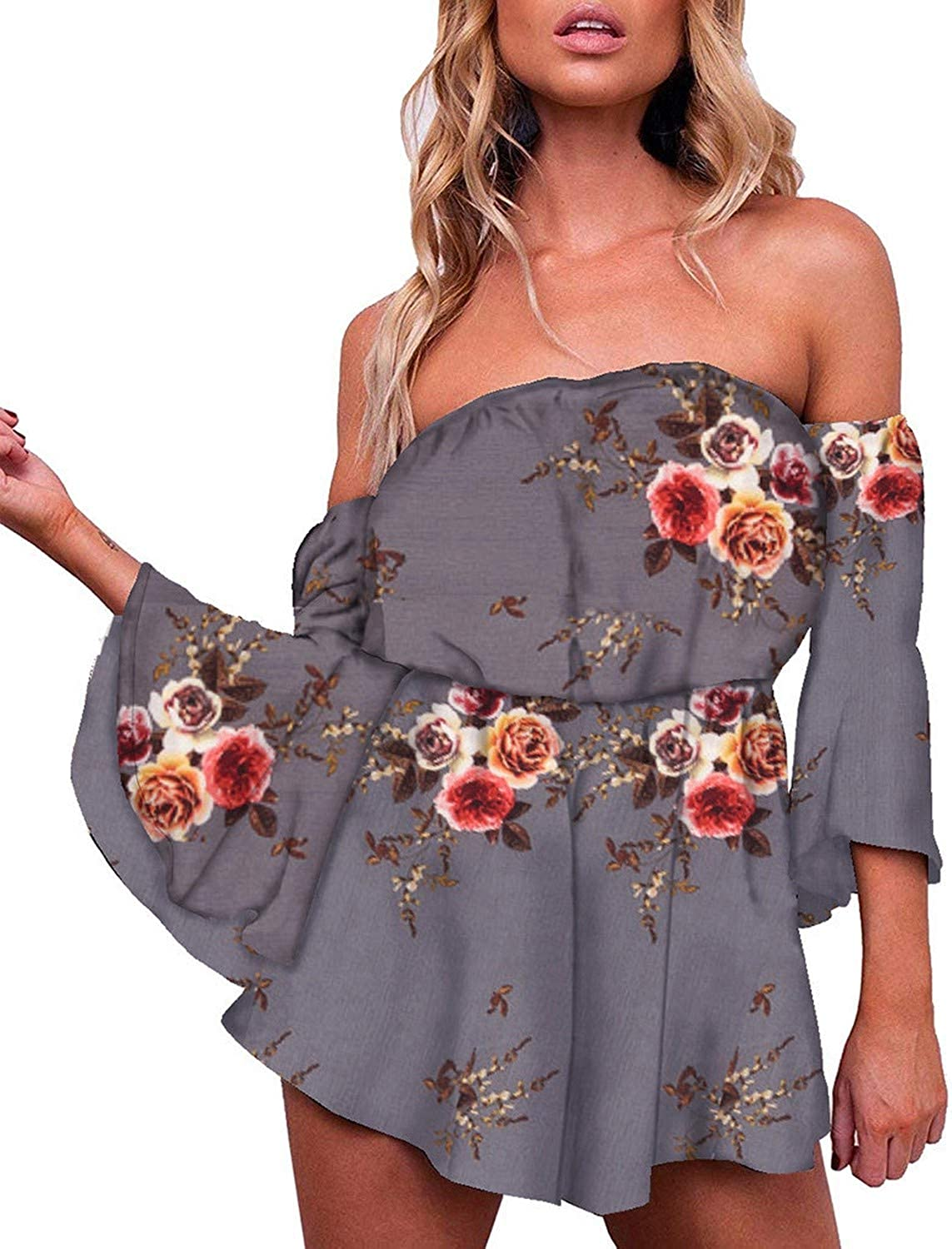 The small cat Fashion Off Shoulder Bodysuit Women Floral Print Jumpsuits Flare Sleeve Short Romper