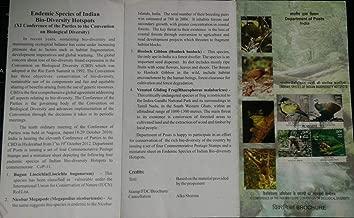 Endemic Species of Indian Bio Diversity Hot Spots Buguin Liocichla_ Nicobar Megapode Hoolock Gibbon_ Venated Gliding Frog Brochure with Stamp