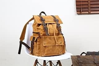 Men's Shoulder Bag Oil Canvas Bag with Crazy Horse Leather Bag Backpack 15.6-inch Waterproof Outdoor Leisure Men's Bag (Color : Orange, Size : M)