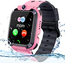 Themoemoe Kids GPS Tracker Watch, Kids Smartwatch IP68 Waterproof with GPS Tracker Phone Alarm Clock Game Camera Compatible with 2G T-Mobile Birthday Gift for Kids(S12B-Pink)