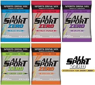 All Sport Zero Powder Packs, No Sugar, Added Potassium and Vitamin C, Zero Calories, 2.5 Gallon Yield/Pack, 5 Flavors, Case of 30 Packs