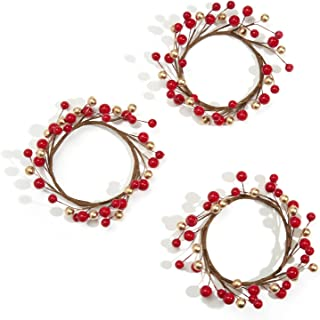 LampLust Holiday Candle Rings, Red and Gold Berry, Set of 3 - for Christmas, Thanksgiving, Parties and Home Decor