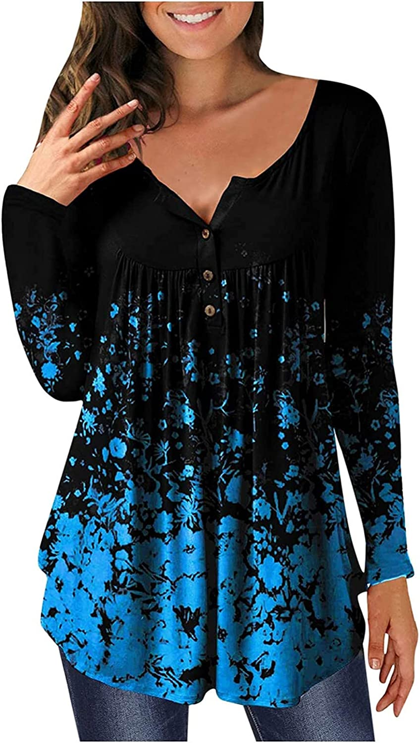 Comfy Casual Tunic Tops for Women Solid Floral Scoop Neck Blouse Loose Pleated Scalloped Hem Pullover Shirts