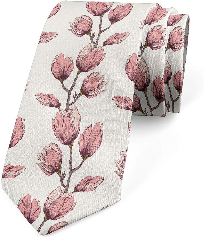Ambesonne Men's Tie, Feminine Flower Branch, Necktie, 3.7
