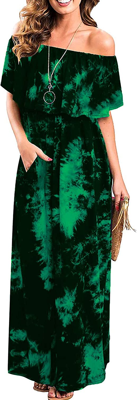 Womens Off The Shoulder Ruffle Party supreme Split overseas Maxi Dye Tie Dresses