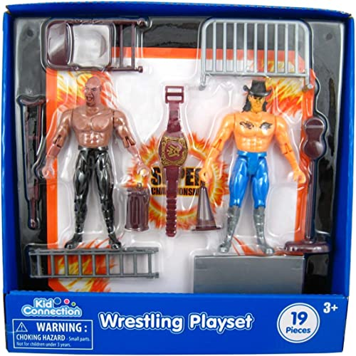 Kid Connection 19-Piece Wrestling Play Set with 2 Wrestlers by Walmart