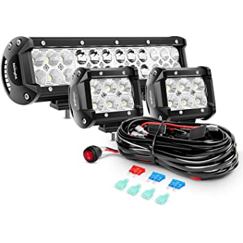 Nilight ZH010 2PCS 4 Inch 18W Flood Bars Work Led Fog Driving Lights with Off Road Wiring Harness 2 Years Warranty